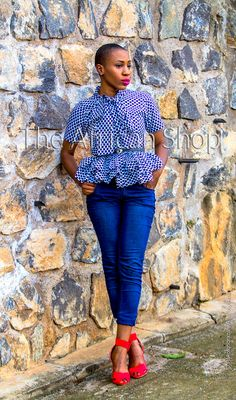African Print top and denim jeans!!! Top from herehttps://www.etsy.com/listing/178256445/limited-bambie-blouse?ref=shop_home_active_3