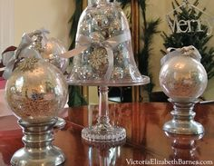 Victorian home decorated for Christmas.  How to make a bow.  How to make your dining room look elegant. Decorating with evergreen garland and mercury glass Christmas ornaments. Fast, easy Christmas decorations using household items.