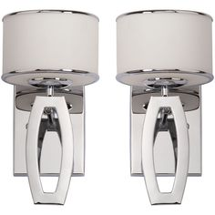 Pier 1 Imports Lenora Drum Chrome Wall Sconce Set Of 2 ($190) ❤ liked on Polyvore featuring home, lighting, wall lights, silver, chrome lighting, white lights, white sconces, white light and chrome light