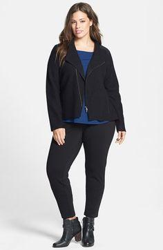 Moto jacket + Eileen Fisher slim pants