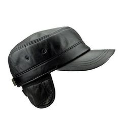 6a8e982b1fd51 Men Women Black Genuine Sheepskin Military Cap Warm Ear Protaction Flat Top  Hat · Leather ...