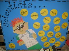 First Grade Wow: Scientists... add a word each week describing what scientists are, can, do, etc.