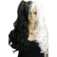 QIYUN.Z Lolita Long Wavy Curly Black White Half Mix Cosplay Synthetic... ($24) ❤ liked on Polyvore featuring beauty products, haircare, hair styling tools and curly hair care