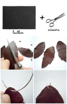 EARRINGS LEATHER FEATHER
