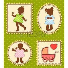 bambina con cane: Bambine dei cartoni animati d'epoca piccoli.