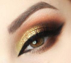 Golden Brown Makeup Tutorial by Marta Parciak. Featuring Makeup Geek Eyeshadows in Americano, Casino, Cherry Cola, and Sidekick.