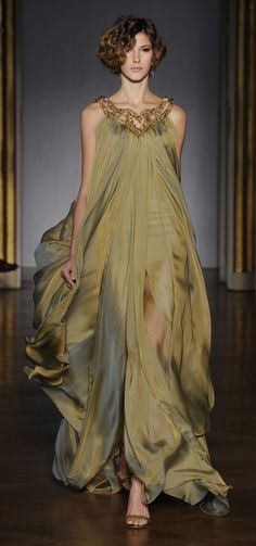 Dilek Hanif 2011 Couture - Khaki 'Cleopatra' style evening dress