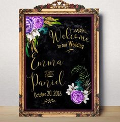 Wedding Welcome sign Welcome to our wedding Printable Custom Wedding Sign Chalkboard modern floral wedding sign Welcome Poster idw25