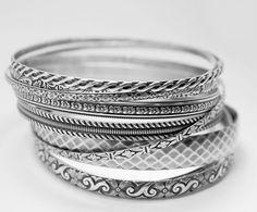 Rings Ideas : 9 bangle patterned bangle bracelets made from Sterling silver Silver Bangle Bracelets, Silver Necklaces, Handmade Bracelets, Silver Rings, Silver Jewellery, Sterling Silver Bracelets, Sterling Silver Pendants, Boho, Bracelet Making