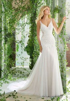 f82b82c136 Peterina Wedding Dress Crystal Beaded Embroidery on a Soft English Net  Mermaid with Sheer Sides and Back Inset.