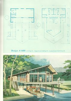 Vintage Vacation Homes, Mid century vacation homes, vacation house plans Vintage House Plans, Modern House Plans, House Floor Plans, Vintage Homes, Mcm House, Lake Cabins, Architecture Plan, Mid Century House, Beach Cottages