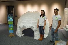 To make this fun REading Igloo out of milk jugs we used 430 milk jugs, a giant card board box, a 80 inch round rug, hot glue guns and hot glue. We used hi