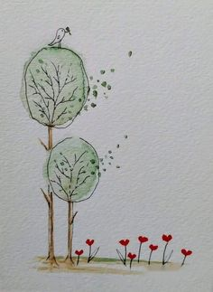 Watercolor And Ink, Watercolour Painting, Watercolor Flowers, Painting & Drawing, Watercolors, Art Carte, Doodle Art, Oeuvre D'art, Art Projects