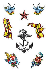 Sailor Temporary Tattoos Fancy Dress Accessory Nautical Jerry Star Traditional