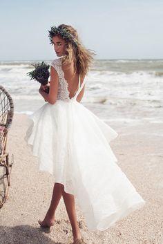 High Low Beach Cap Sleeve Lace Wedding Dress