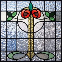 Antique Mackintosh inspired stained glass roses $1100 26x26 inches square