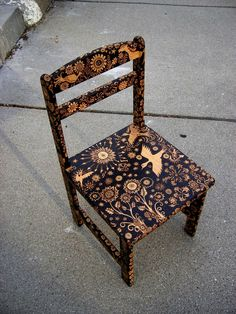 custom small chair-emblazoned with an ooak by burnedfurniture