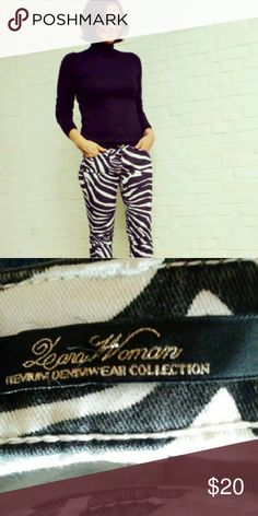 Zara Zebra Print Jeans Zara black and white zebra print slim fit jeans Condition good Zara Jeans Ankle & Cropped