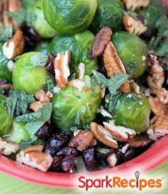 Buttery Brussels Sprouts with Sage, Dried Cranberries and Pecans | via @SparkPeople #food #recipe