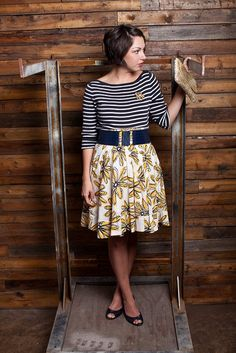 Mix stripe top with floral print lady like skirt and belt