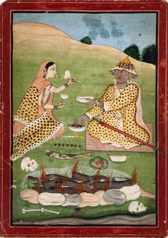 """Tantric Feast India"", Himachal Pradesh, Nurpur, circa 1790. ""Tantric feast"" is how LACMA has labeled it, but the label is misleading."