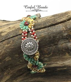 SUPERDUO DAISY CHAIN Bracelet-Turquoise Beige Red