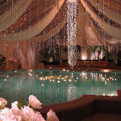 Probably ever girls dream pool. Pink. Flowery. Romantic.