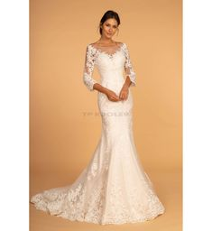 b87e3b96 Brudekjole i blonde og med lange ærmer - Brudekjoler - tp kjoler