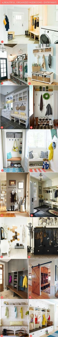 15 Storage and Organization Ideas For Entryways and Mudrooms | http://www.diyideasbyyou.com/15-storage-and-organization-ideas-for-entryways-and-mudrooms/ Looking to make your entrance ways into your home look pretty? Here are 15 Storage and Organization Ideas For Entryways and Mudrooms that will make them just look absolutely gorgeous! Click on over to all 15 of them and make sure you check them all out!