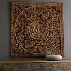 Handcarved Teak Lotus Panels in Three Sizes | VivaTerra