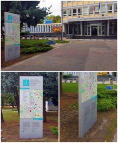Sign pylon, monolyth, totem.  University in Nitra.  Simple and effective orientation system.  www.centrum-reklamy.sk