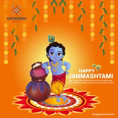 May Lord come to your house and take away all your Makhan, Mishri with all your worries and sorrows, His blessings on you and your family. AntworksMoney Team Wishing Happy Krishna Happy Janmashtami Image, Janmashtami Images, Janmashtami Wishes, Krishna Janmashtami, Krishna Statue, Krishna Art, Radhe Krishna, Lord Krishna, Lord Shiva