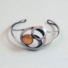 Christophe Poly Butterscotch Glass Circles Cuff Bracelet