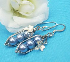 Three Peas In A Pod Silver Earrings You Choose by Kikiburrabeads, $12.50