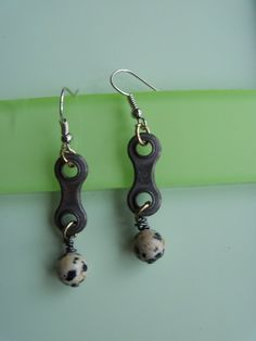 Dalmatian Jasper gemstone earrings linked with used bicycle chain links on Etsy, $12.50
