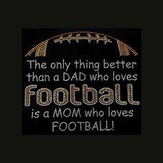 Mom Loves Football 8.25x9.5 Football Rhinestone by BlingByBates