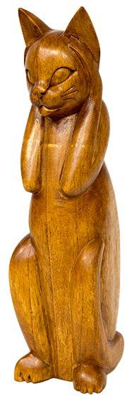 "Статуэтка ""Хитрая киска"" Материал:дерево суар Длина:11 см Ширина:8 см Высота:31 см Вес:0.504 кг"