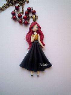 Polymer clay chibi girl ooak doll.