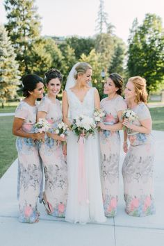Floral print bridesmaid dresses // Krystal Balzer Photography