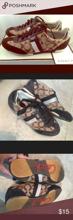 COACH Shoes in Brown✨ Only worn a few times still look almost brand new no damage at all. Super cute with skinny jeans or Bootcutts ☺️‼️ Authentic. Coach Shoes Sneakers