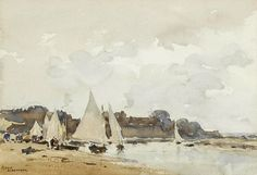 Arthur Gerald Ackermann, R. — UK) An East Anglian beach. x cm. x 9 in. Watercolor Pictures, Watercolor Artists, Artist Painting, Watercolor Paintings, Watercolours, Aqua, Beach, Paintings, Watercolour Paintings