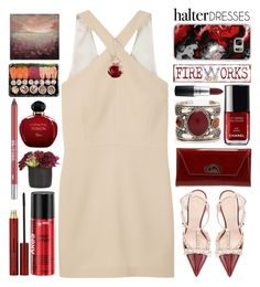 """""""Shoulder Show:Halter Dresses"""" by grozdana-v ❤ liked on Polyvore featuring Kate Spade, MANGO, Christian Louboutin, Pier 1 Imports, MAC Cosmetics, Casetify, Christian Dior, Sian Bostwick Jewellery, Kevyn Aucoin and Urban Decay"""