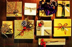 """#christmas #boxes #gold #favors #gifts #red #handmade #motifevents"""