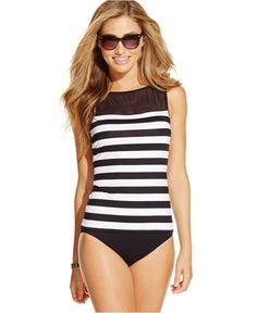 Lauren Ralph Lauren Mesh Striped Tankini Top & Hipster Swim Brief Bottom - Swimwear - Women - Macy's