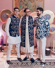 Family members co-ordinated in matching bridal menswear Wedding Kurta For Men, Wedding Dresses Men Indian, Indian Wedding Photos, Wedding Dress Men, Men Wedding Outfits, Punjabi Wedding, Indian Weddings, Wedding Couples, Mens Indian Wear