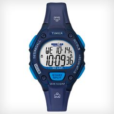 Timex Women's T5K653 Ironman Traditional 30-Lap Mid-Size Blue Resin Strap Watch