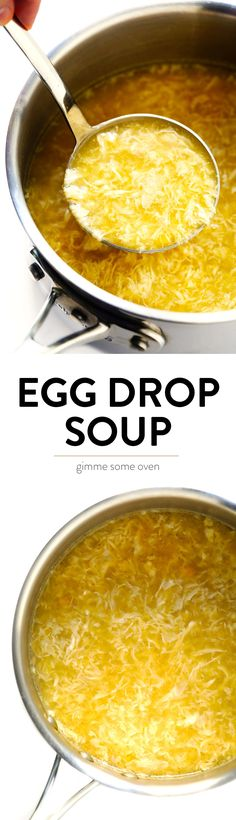 The BEST Egg Drop Soup recipe!  It's easy to make in just 15 minutes, and always so delicious! | gimmesomeoven.com #chinese #soup #eggdrop #glutenfree #vegetarian #dinner #takeout #healthy It's Easy, Creme, Oriental Food, Soup Recipes, Dinner Recipes, Healthy Recipes, Cooking Recipes, Yummy Recipes, Salad Sandwich