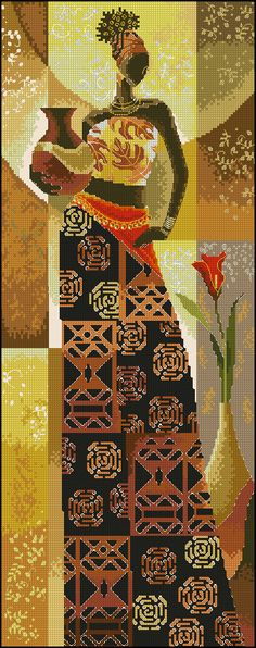 African Lady x-stitch Types Of Embroidery, Ribbon Embroidery, Cross Stitch Embroidery, Cross Stitch Charts, Cross Stitch Designs, Cross Stitch Patterns, Needlepoint Designs, Needlepoint Canvases, African Artwork