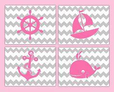 Nautical Nursery Prints Decor Baby Girl Wall Art Chevron Pink Gray Grey Sailboat
