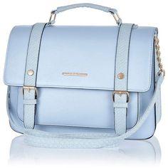 River Island Light blue satchel ($40) ❤ liked on Polyvore featuring bags, handbags, purses, bolsas, accessories, blue, blue hand bag, vegan purses, chain strap handbag and faux-leather handbags